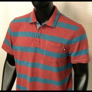 The North Face Red and Blue Striped Polo